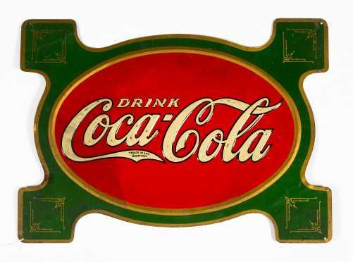 C1914 Coca Cola Enamel on Tin Advertising Sign