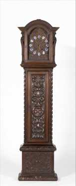 19thC German Ornately Carved Walnut Grandfather Tall Clock