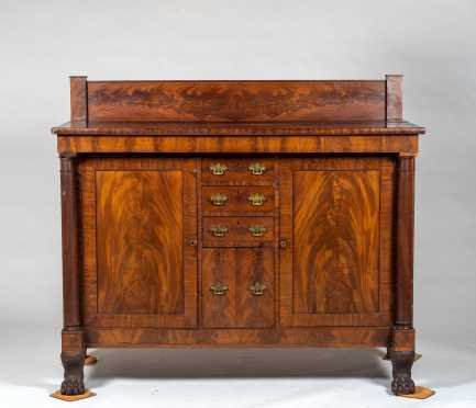 American Empire 19thC Sideboard with Carved Paw Feet