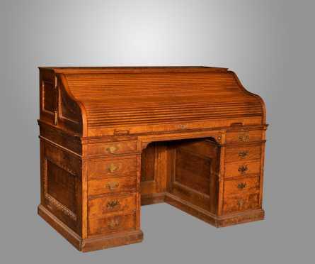 """60"""" Wide Oak """"S"""" Rolltop Desk"""