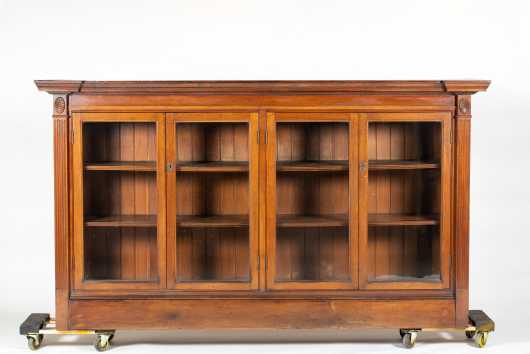 Custom Mahogany Four Glazed Door Bookcase