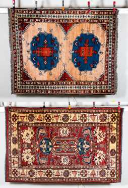 Two Caucasian Style Oriental Scatter Rugs