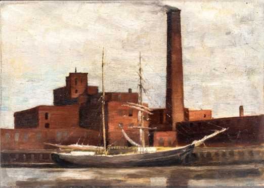 Frederick Wagner (1864 - 1940) Attributed.  Philadelphia Waterfront *AVAILABLE FOR REASONABLE OFFER*