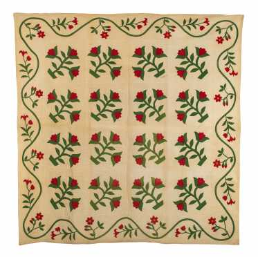 Signed and Dated Applique Floral Quilt