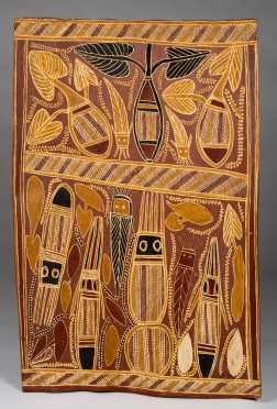 Large Australian Aboriginal Bark Painting by Boyun