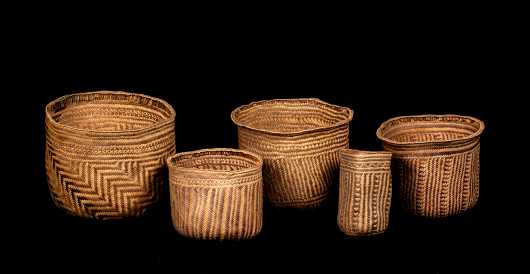 Group of Five Papua New Guinea Nesting Basketry Vessels