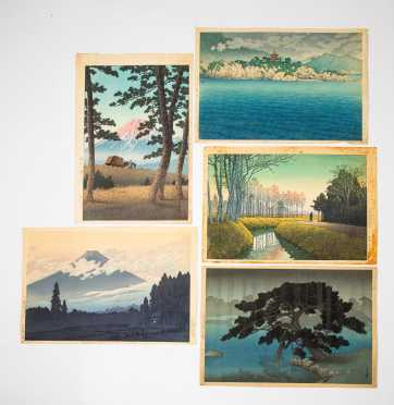Five 20thC Japanese Block Prints