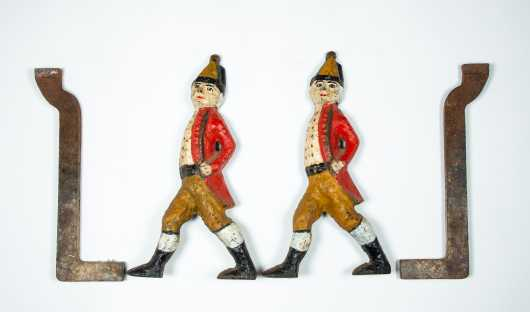 "Pair of Painted 19thC ""Hessian Soldier"" Cast Iron Andirons"