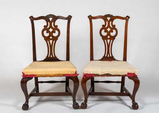 Pair of Massachusetts Chippendale Style Side Chairs