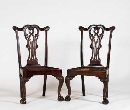 Pair of Irish Chippendale Style Mahogany Side Chairs