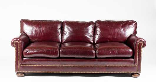 Red Leather Rolled arm Three Seat Sofa