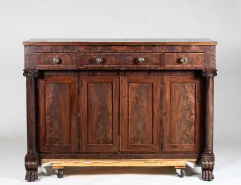 American Carved Mahogany Empire Sideboard