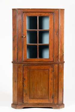Pine NJ/PA Glazed Door Corner Cupboard