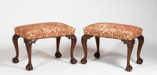 Pair of Chippendale Style Mahogany Upholstered Foot Stools