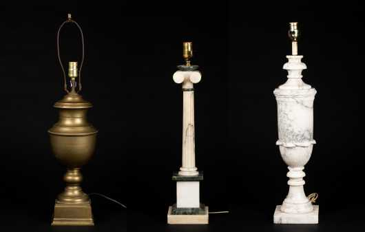Lot of Three Brass and Marble Lamps