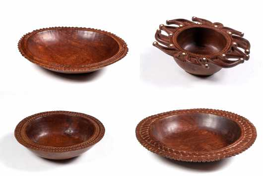 Four Trobriand Islands, Papua, New Guinea Carved Bowls