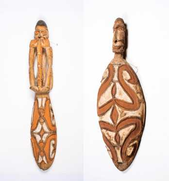 Two Trobriand Islands, Papua, New Guinea Figural Bowls