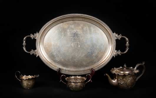 Presentation English Coin Silver Tea Set and Oval Tray