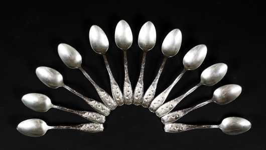 Set of Twelve Sterling Silver Tea Spoons