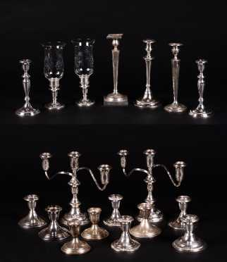 Large Lot of Sterling Silver Weighted Candlesticks