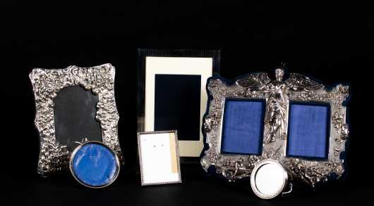 Lot of Six Sterling and Coin Silver Picture Frames