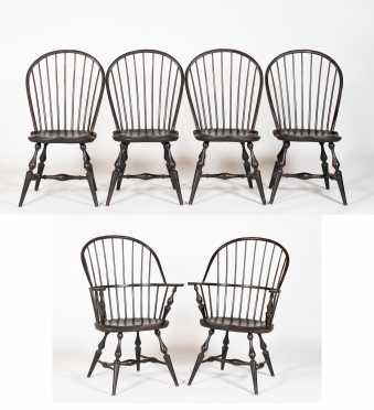 Set of Six Bow Back Windsor Style Dining Chairs