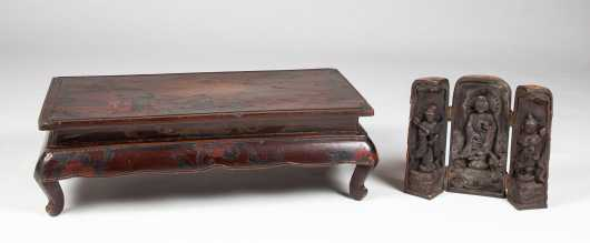 Chinese Wooden Icon and Lacquer Low Table