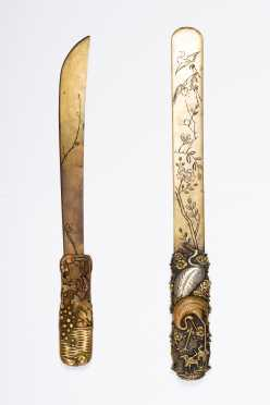 Two Japanese Mixed Metal Page Turner/ Envelope Knives