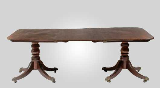 Regency Mahogany Two Pedestal Banquet Table