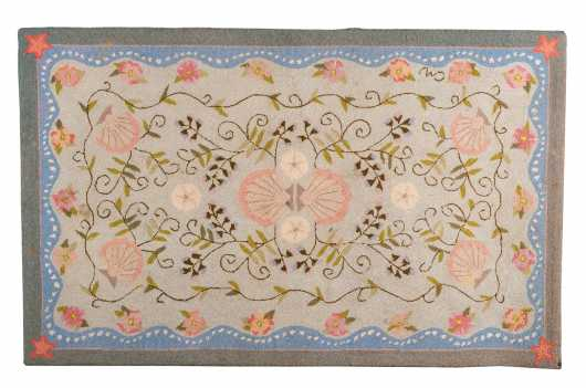 """Claire Murray"" Cape Cod Shell Design Scatter Hooked Rug"