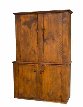 L19thC Stepback Cupboard with Four Batten Doors