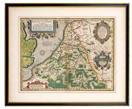 """16thC """"Abraham Ortelius"""" Map of Ancient Belgium and English Coast"""