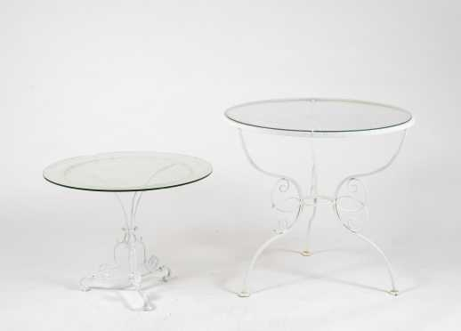 Two 20thC Round Glass Top Wrought Iron Stands