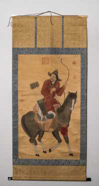 "Chinese Painting on Silk ""Bow and Arrow Hunter"" Scroll"
