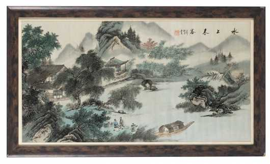 Chinese Hand Colored Scenic Print