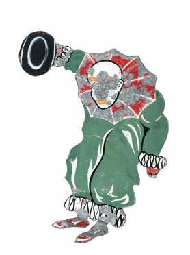 Painted Sheet Zinc Clown Carnival Figure