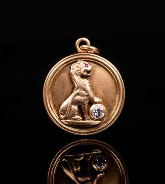 14K Yellow Gold Diamond Locket
