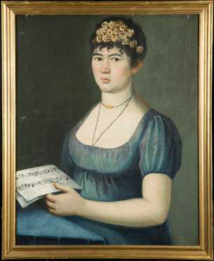American 19thC Painting of a Young Woman with a Music Sheet