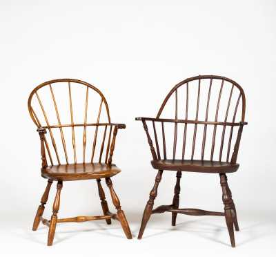 Two American Bow Back Windsor Arm Chairs