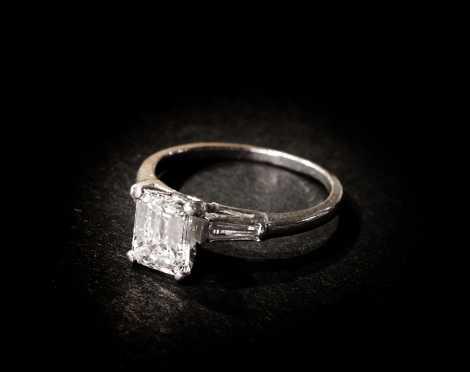 Platinum Emerald Cut Engagement Ring