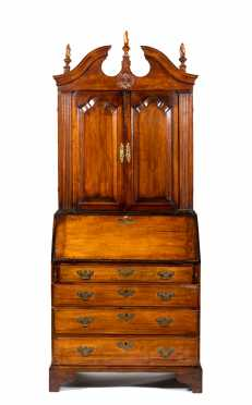 Massachusetts or New Hampshire Bonnet Top Chippendale Secretary in Curly Maple