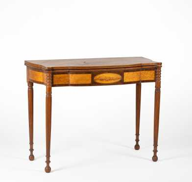 Maine Sheraton Mahogany Shaped Front Card Table