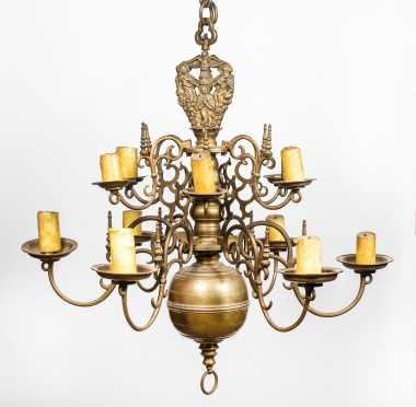 Dutch 17th/18thC Brass Two Tier Chandelier