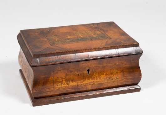 19thC Continental Dressing Box with Five Inlaid Stag Hunting Scenes