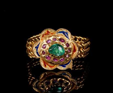 High Karat Gold, Enamel, and Precious Stone Moghul Style Bracelet