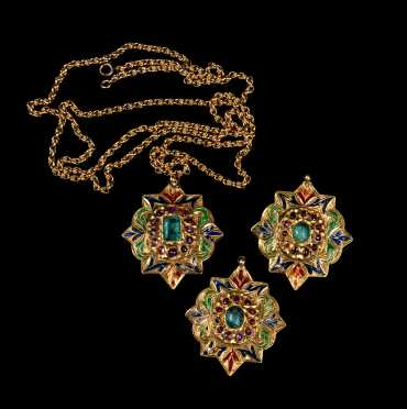 High Karat Gold, Enamel, and Precious Stone Moghul Style Medallions and Necklace