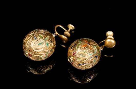 High Karat Gold, Enamel, and Precious Stone Moghul Earrings