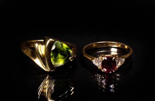 Two Gold Gemstone Rings