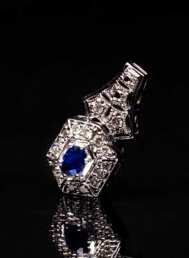 Diamond and Sapphire Deco Style Pendant