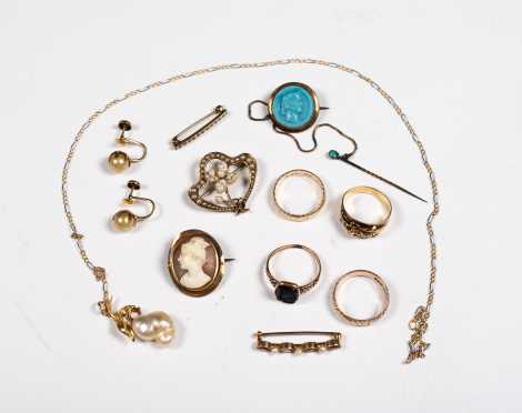 Group of Antique Gold and Cameo Pieces